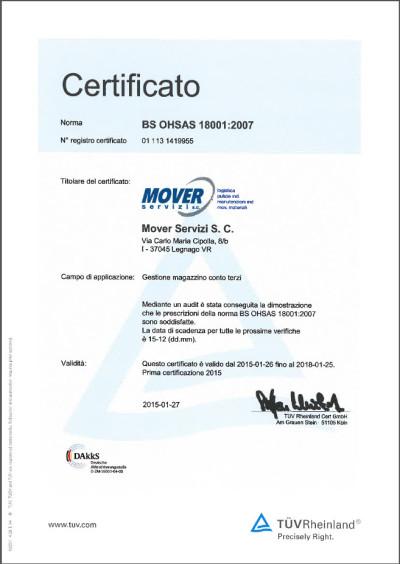 certificato 18001 sicurezza LogisticaZERO