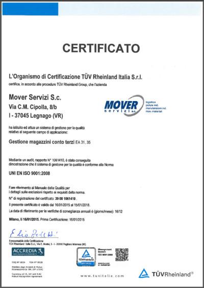 certificato qualità LogisticaZERO